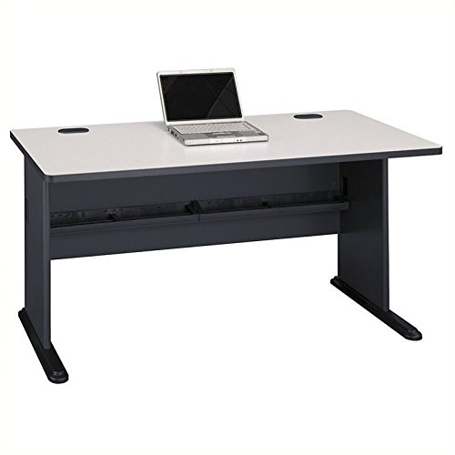Furniture Office Panels Source - Bush Business Furniture Series A 60W Desk in Slate and White Spectrum