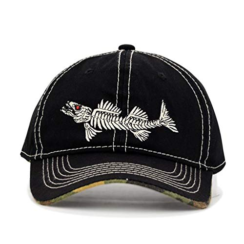 Fish-Bone Embroidered Baseball Cap - Men Fishing Hat, Adjustable Sun Protection Hats (Black)