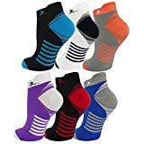 6 Pair Ankle Length Athletic Premium Quality Extra-Soft Graduated Compression Socks for Sports, Running, Travel & Flight, Mens and Womens Ultra Comfort Blend. Assorted Colors