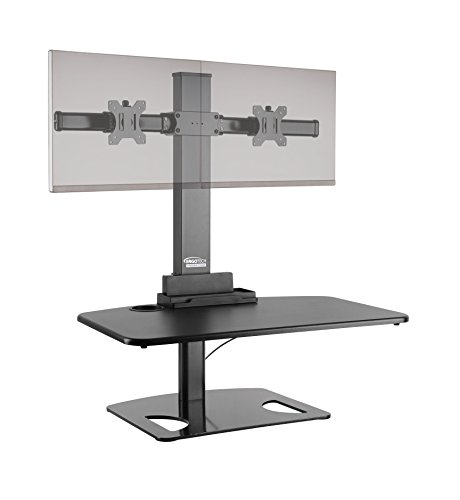 "Ergotech Freedom Stand, Height Adjustable Desk, Dual Monitors, 30"" Wide - Black"