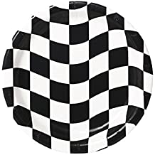 Creative Converting 24 Count Round Dinner Plates, Black and White Check