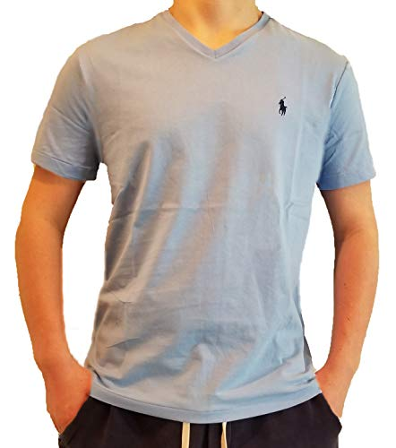 Polo Ralph Lauren Men's Classic Fit V-Neck T-Shirt (X-Large, Sky Blue/Navy Pony)