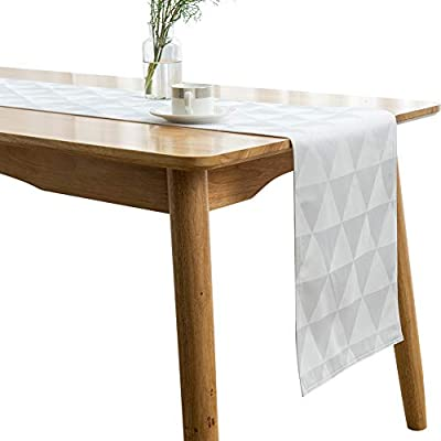 "SUNLOVO Table Runner,Geometric Triangle Jaquard Woven Dresser Scarf Heat Resistant Fabric Table Top Decoration for Dining Table,White,13x108 inches,1pc - Premium Quality: Designed with a wrinkle resistant,heat resistant,easy clean and help protect your table and furniture. Enhance your Home:Smooth and elegant Jacquard polyester table runner brighten up your table.Perfect for any event from causal family dinners to sophisticated soirees. Sizes and Color:13""x108"",White - table-runners, kitchen-dining-room-table-linens, kitchen-dining-room - 41FXiTSnsnL. SS400  -"