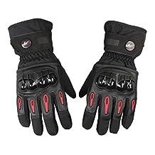 Waterproof Motorcycle Gloves Full Finger Gloves For Motorcycle Biker Riding Powersports Outdoor Racing Hard Plastic Knuckle (M, Black)