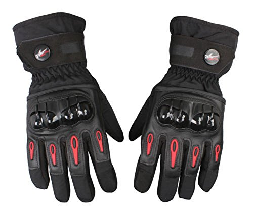Waterproof Motorcycle Gloves Full Finger Gloves For Motorcycle Biker Riding Powersports Outdoor Racing Hard Plastic Knuckle (XL, Black)