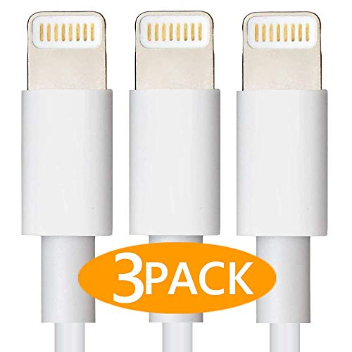 CableCord 6-FeetLightning to USB Cables Charge Cable/Data Sync USB Charging Cable Compatible for iPhone X Case/8/8 Plus/7/7 Plus/6/6s Plus,iPad Mini- White, (2m) 3-Pack