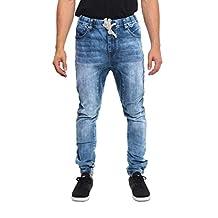 Victorious Mens Drop Crotch Jogger Denim Pants JG803 - LT. INDIGO - Small