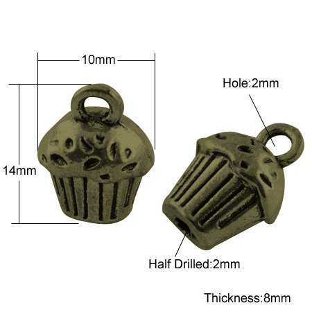 25 pcs of Antique Bronze Tibetan Cup Cake Pendants for Necklace and Earring Jewelry Making and Craft Designs