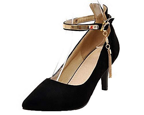 Légeres Haut Talon Femme Chaussures Couleur à Unie AalarDom Noir PU Boucle Cuir TSFDH005732 qxCnwFg