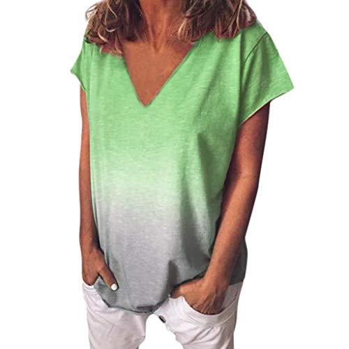 (Toimothcn Women's Casual V Neck Gradient Color Short Sleeve T-Shirt Tunic Tops Blouse (Green,XXL))