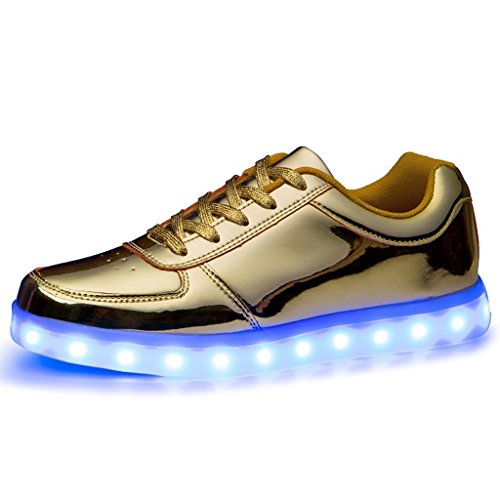 (Present:kleines Handtuch)Gold EU 41, Paar athletische Turnschuh Frauen Lade LED leuchten Blink