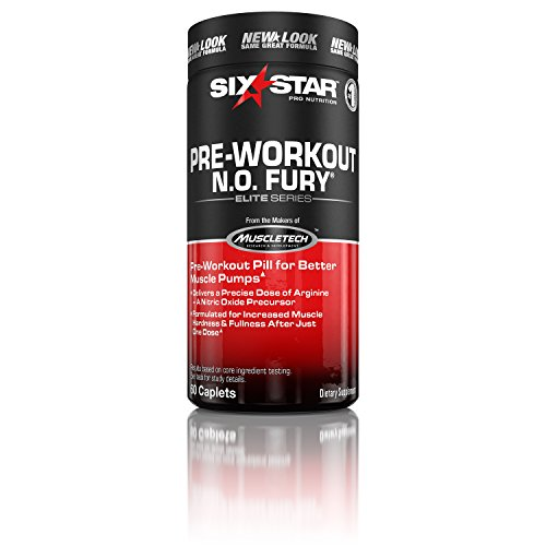 Six Star Pro Nutrition Elite Series Pre Workout N.O. Fury, Nitric Oxide Booster, 60 Caplets