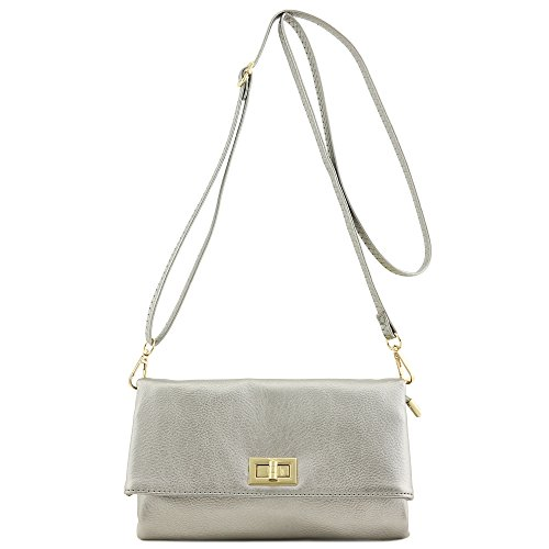 Double Compartment Turnlock Envelope Clutch Crossbody Bag (Light ()