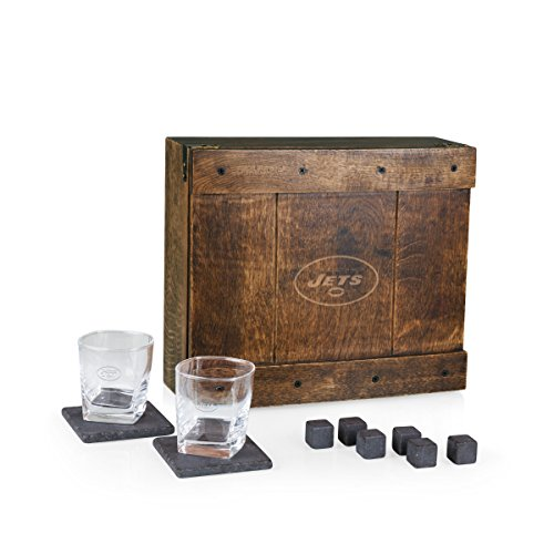 PICNIC TIME NFL New York Jets Whiskey Box Gift Set with Service for Two