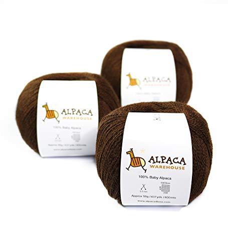 n Wool Set of 3 Skeins Lace Weight (Brown) ()