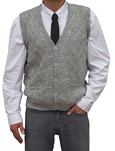 TINKUY PERU - Peruvian Alpaca Wool - Men´s Knitwear V-Neck Jacquard Vest Sweater Waistcoat - Heather Grey (XX-Large)