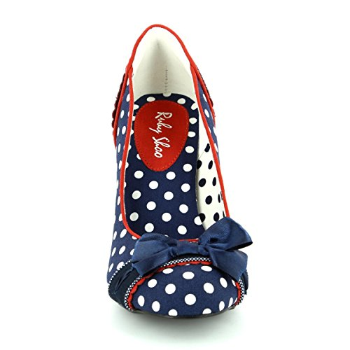 Ruby Shoo Amy Navy Spots Womens Hi Heels Court Shoes Dunkelblau mit weißen Punkten
