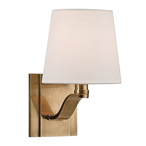 Clayton 1-Light Wall Sconce - Aged Brass Finish with Linen Shade - Hudson Valley Metallics