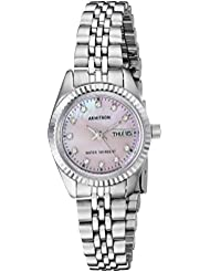 Armitron Womens 75/2475PMSV Swarovski Crystal Accented Silver-Tone Pink Mother-of-Pearl Dress Watch