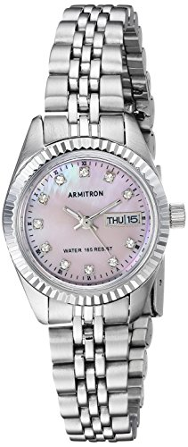 Armitron Women's 75/2475PMSV Swarovski Crystal Accented Silver-Tone Pink Mother-of-Pearl Dress Watch ()