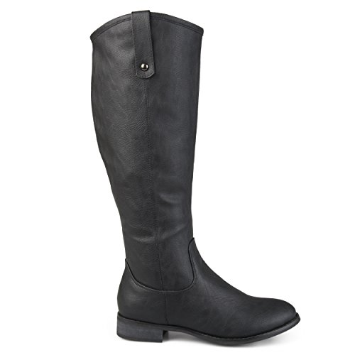 - Brinley Co Womens Faux Leather Regular, Wide and Extra Wide Calf Mid-Calf Round Toe Boots Black, 8 Extra Wide Calf US