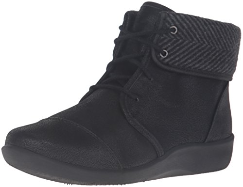 Clarks Women's Sillian Frey Boot, Black Synthetic Nubuck, 8 M US