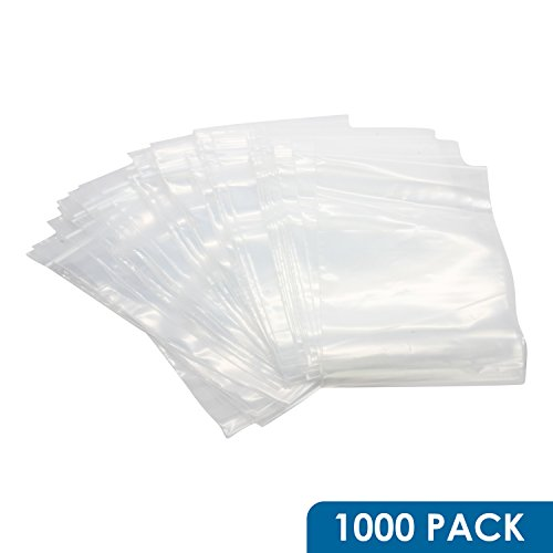 Rok Hardware Case of 1000 Heavy Duty 5'' x 8'' Resealable 4Mil Thick Plastic Clear Poly Zip Lock Food Safe Storage Bags by Rok