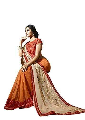Jaanvi-Fashion-Beige-And-Orange-Designer-Georgette-Embellished-Saree