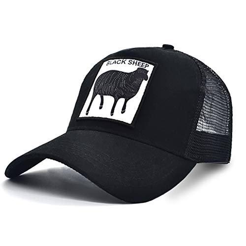 Animal Baseball Cap Patch Embroidered Unisex Women Low Profile Trucker Hat Men Plain Mesh Cap Adjustable Cap Outdoor Sport Hunt Cap (Black Sheep)]()