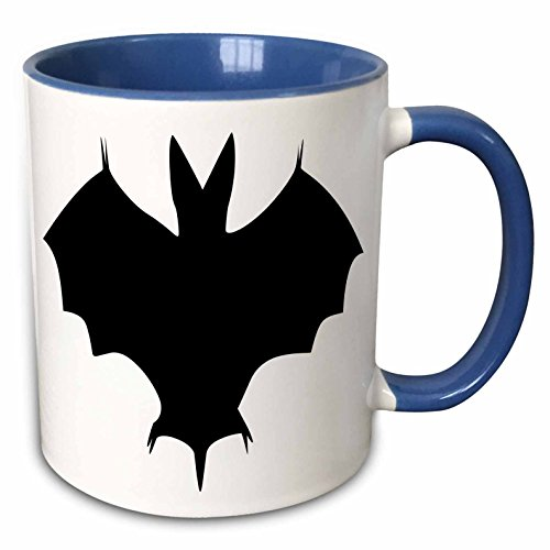 3dRose Taiche Greeting Cards Halloween - Silhouette Of a Bat-Associated with witchcraft, black magic and darkness - 15oz Two-Tone Blue Mug (mug_167480_11) ()