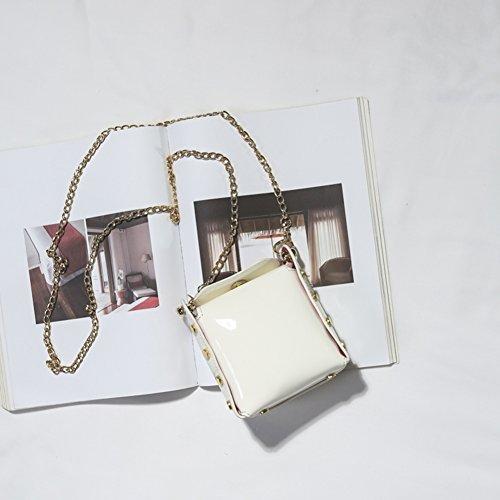 De Una Bolso De De Hermoso Moda Hombro Cruzado Bolso Wine con white De Mini para AIURBAG Mujer Cadena Metal Cuero pt1AP6p0