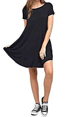 TASAMO Women's Casual Plain Short Sleeve Simple T-Shirt Loose Dress