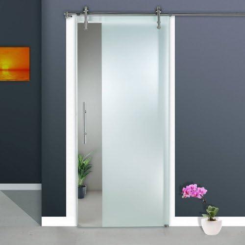 Correderas de cristal de puerta de ST 963-F1 - 900 x 2050 x 8 mm a la derecha, 8 mm de cristal de seguridad con 3/4 zona de acabado mate, barra y