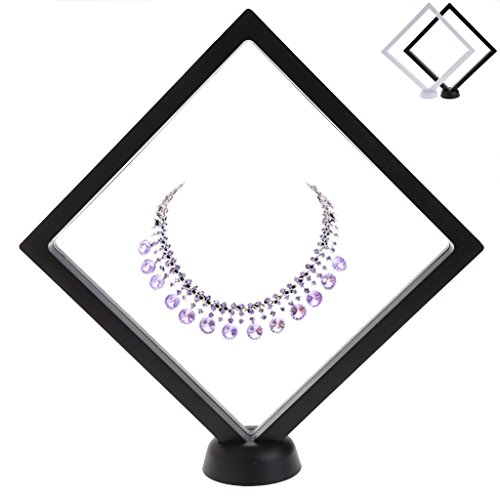 NNDA CO Suspended Floating Jewellery Display Case Gems Artefacts Stand Holder With Base,Acrylic,PET membrane,1Pc (Black) ()