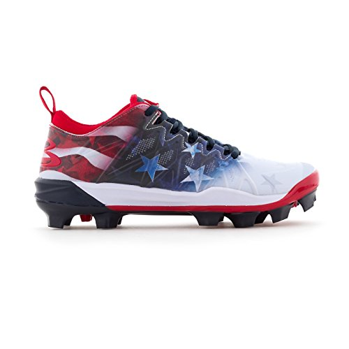 - Boombah Women's Squadron Flag Molded Cleats Royal Blue/Red/White - Size 8.5