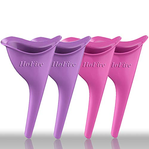 HoFire Female Urination Device-Lets You Pee Standing up-Lightweight Silicone Portable Travel Urinal Funnel Women-Perfect Camping, Traveling, Climbing, Festivals,Outdoor Activities-4 Pcs(Purple+Pink)