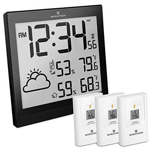 (Marathon BA030016 Atomic Weather Station with 3 Indoor/Outdoor Remote Sensors )