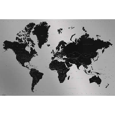 world map contemporary poster print