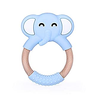 Just4Tots by MAD - Elephant Teething Toy Baby Teether - Gum Soother and Massager for Natural Teething Relief - Made of Soft, BPA-Free Food Grade Silicone (Blue)