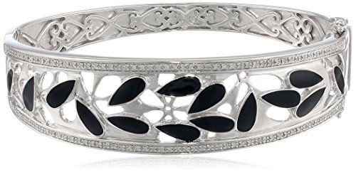 Sterling Silver Diamond Black Enamel Bangle Bracelet (1/3 cttw)