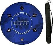 120cm Diameter Poker Mat, Anti-Slip Professional Texas Hold'em Table Mat Portable Rubber Round Table Top L