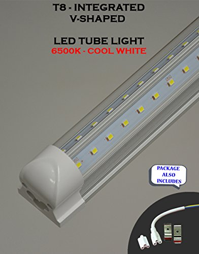 (Pack of 10 Lights) T8 Integrated 6 Feet 48 Watt V Shaped (270 Degrees Viewing Angle) 6500K Clear Lens Plug and Play Tube Light for Cooler Freezer by Plan Hoot (Image #2)