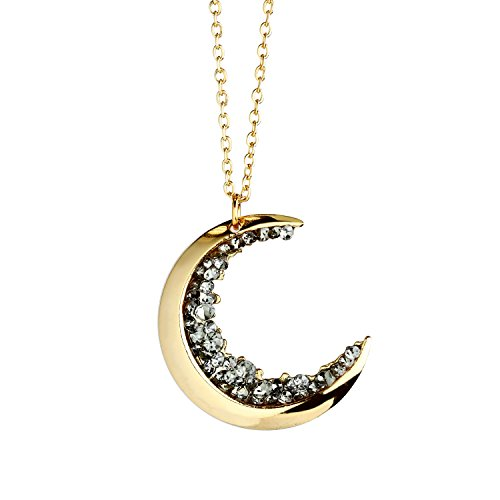 MignonandMignon 16k Gold Plated Crescent Moon Necklace with Black Crystals for Women - ZCMN