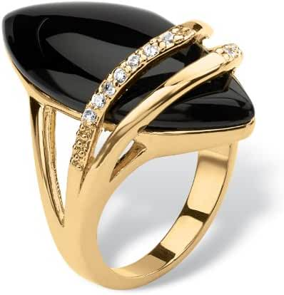 Genuine Black Onyx and Cubic Zirconia 18k Gold-Plated Marquise-Shaped Ring