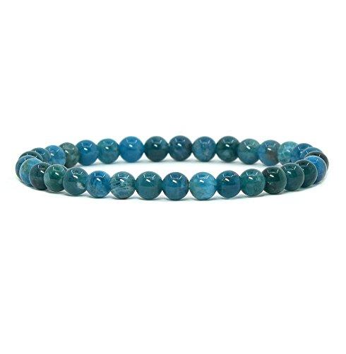 (Natural Apatite Gemstone 6mm Round Beads Stretch Bracelet 6.5