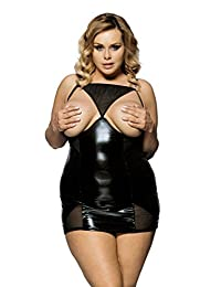 SEVEN STYLE Women's Plus size Pu Leather Teddy Lingerie Bustier Corset Top