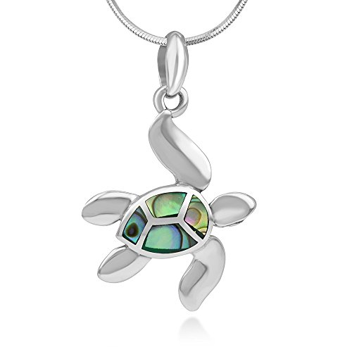 925 Sterling Silver Inlay Green Abalone Dangling Sea Turtle Pendant Necklace for Women, 18 Inches Chain (Le Creuset Ocean Sale)