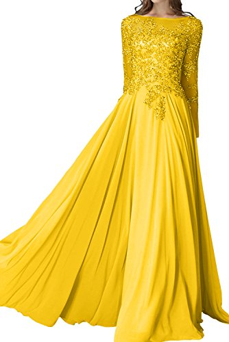 Sunvary Elegant Jewel Neckline Ball Gown Long Sleeve Sheath Prom Evening Dress Size 20W- Gold Yellow