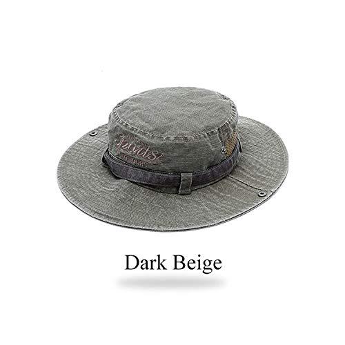 Cotton Men's Bucket Hats Outdoor Safari Hat Washed Sun Hat UV Protection Fishing Unisex,Dark Beige