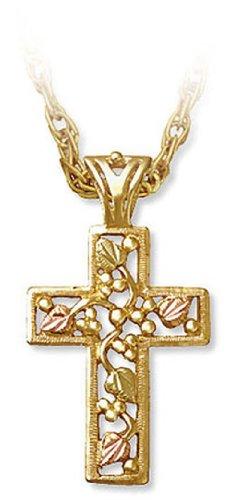 Black Hills Mens Bracelets - Landstroms Mens 10k Black Hills Gold Cross Pendant Necklace, 18